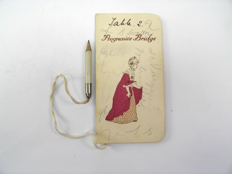 fan shaped 8 inches young lady in pink gown,parasol art deco bridge tally card